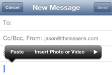 Quickly insert a photo or video to an email message on your iPad or iPhone